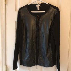 Chico black jacket/sweater   Faux leather front